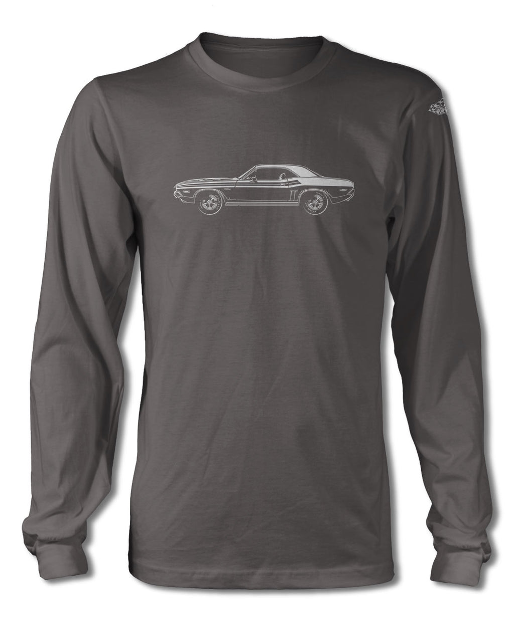 1971 Dodge Challenger with Stripes Coupe T-Shirt - Long Sleeves - Side View