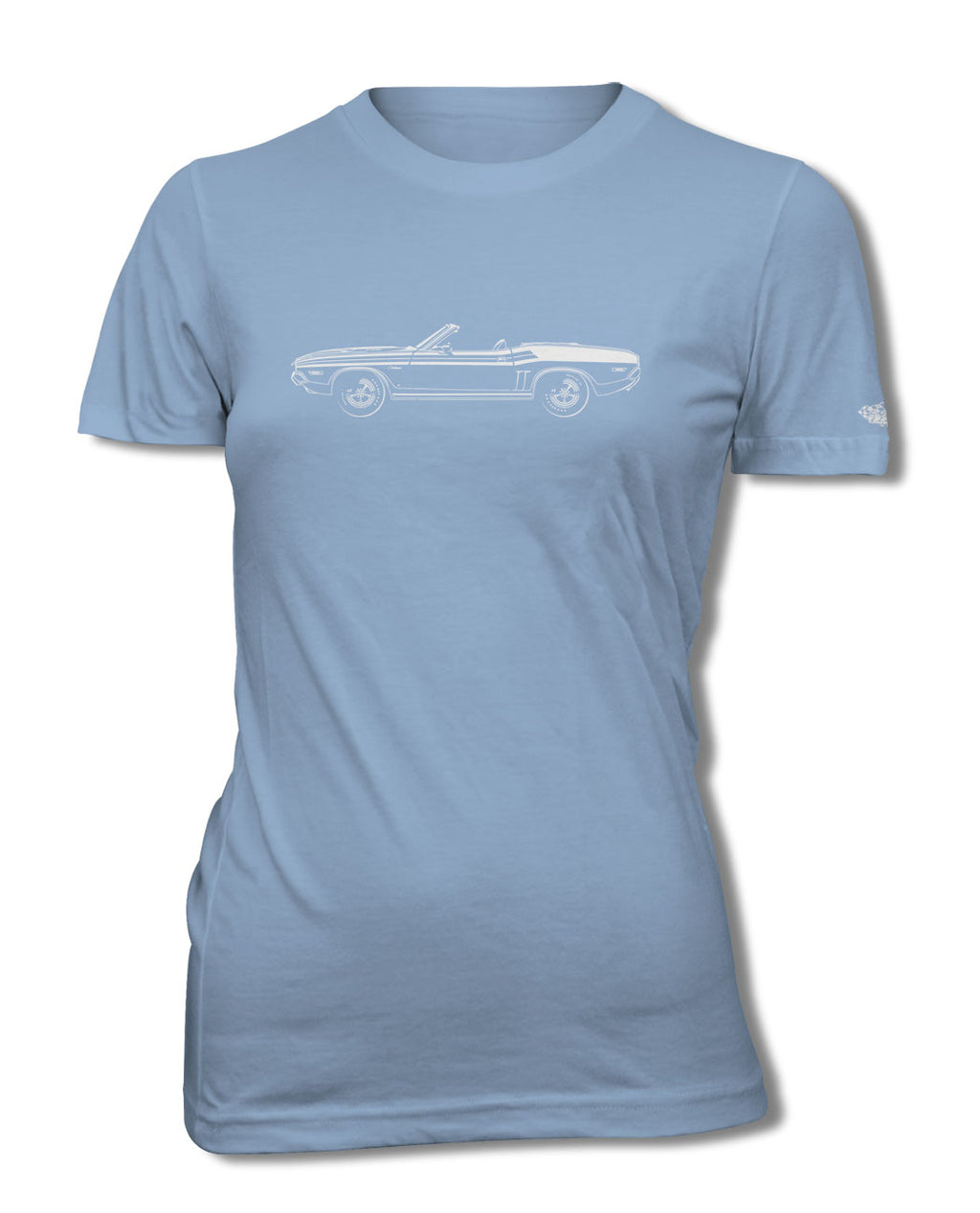 1971 Dodge Challenger with Stripes Convertible T-Shirt - Women - Side View