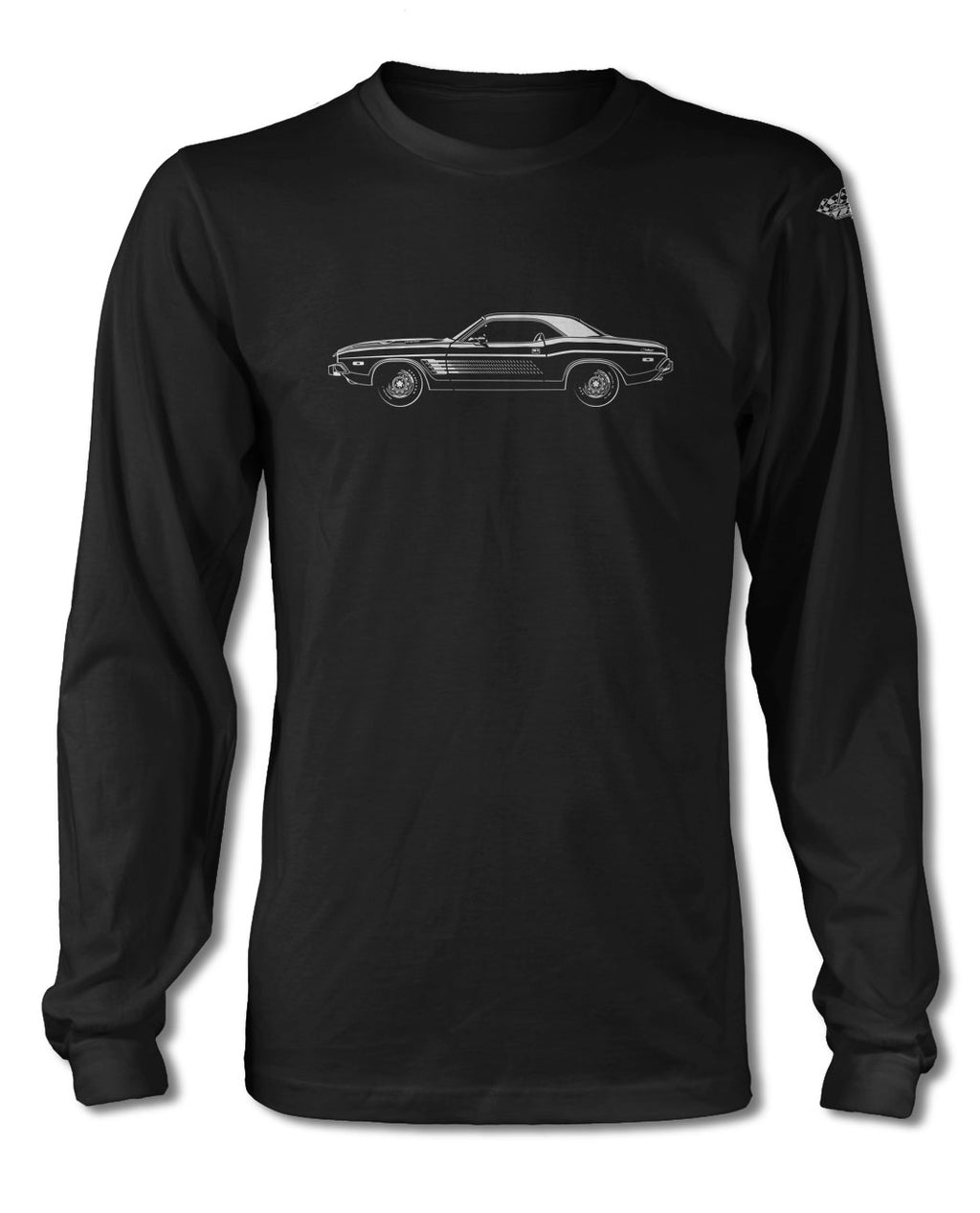1973 Dodge Challenger Rallye with Stripes Coupe T-Shirt - Long Sleeves - Side View