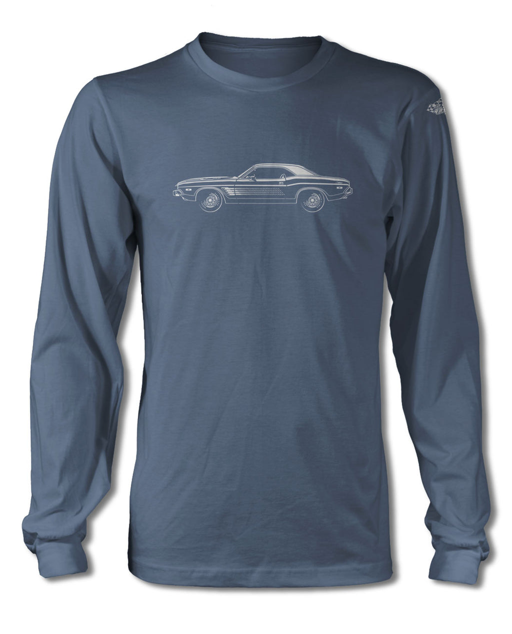 1973 Dodge Challenger Rallye with Stripes Hardtop T-Shirt - Long Sleeves - Side View