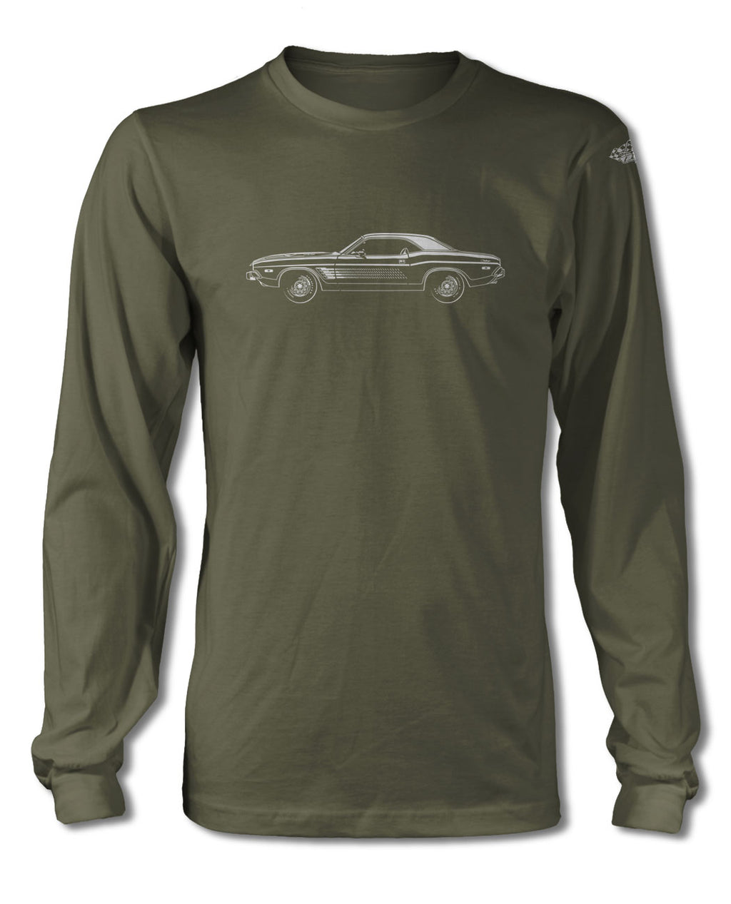 1974 Dodge Challenger Rallye with Stripes Hardtop T-Shirt - Long Sleeves - Side View