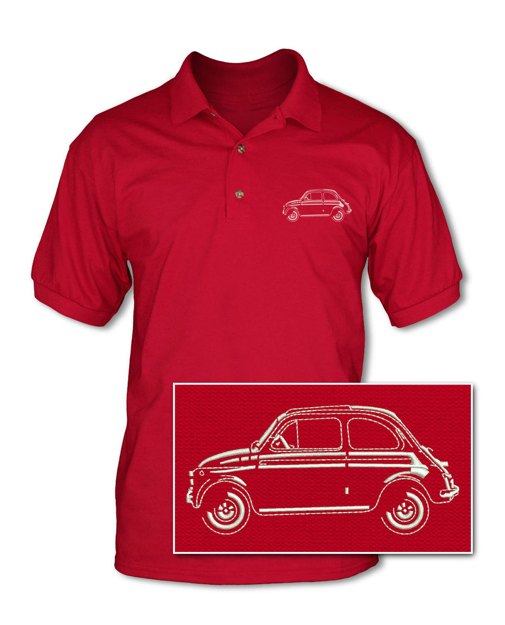 Fiat 500 Adult Pique Polo Shirt - Side View