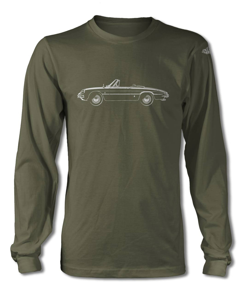 Alfa Romeo Spider Veloce Convertible Duetto 1966 - 1969 T-Shirt - Long Sleeves - Side View