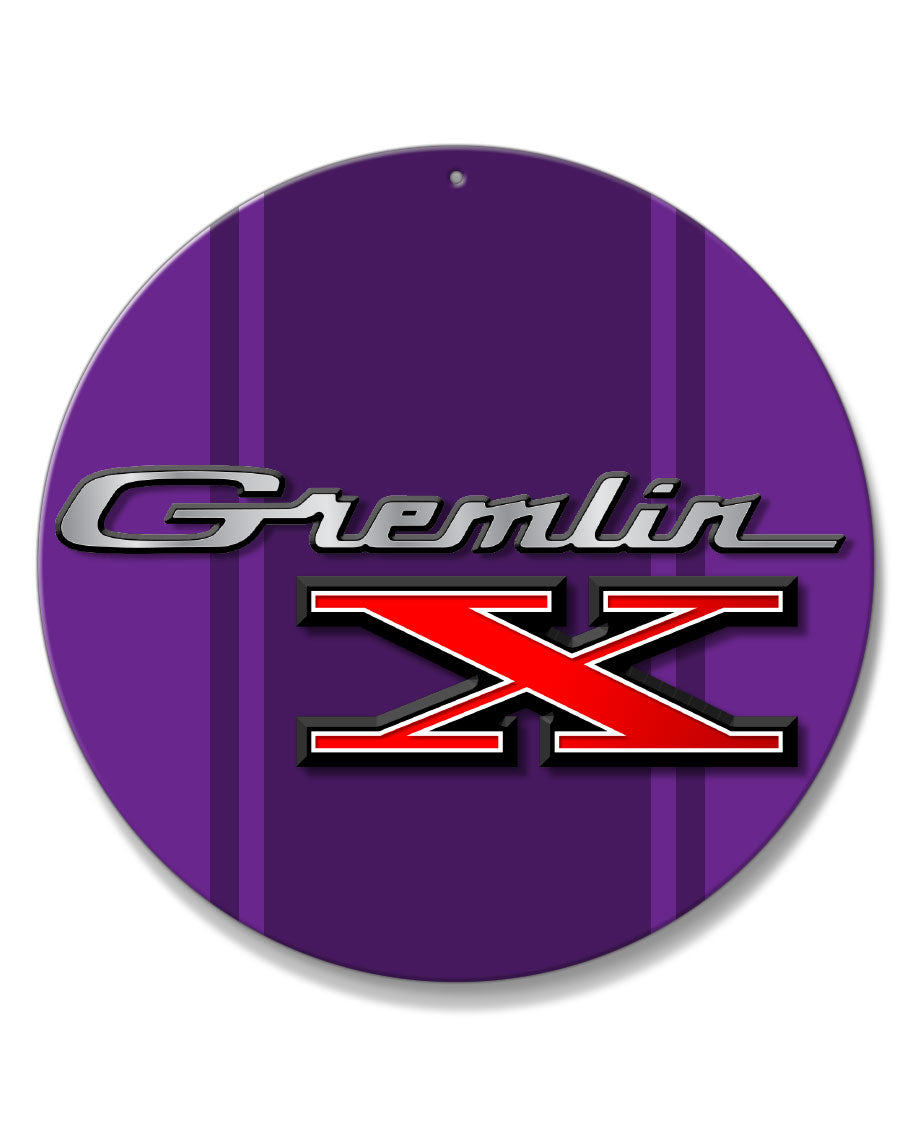 1970 - 1978 AMC Gremlin X Emblem Novelty Round Aluminum Sign