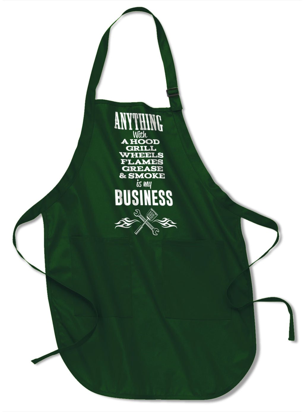 Anything with A Hood, Wheels, Grill, Flames, Grease & Smoke is my Business Apron - BBQ Apron