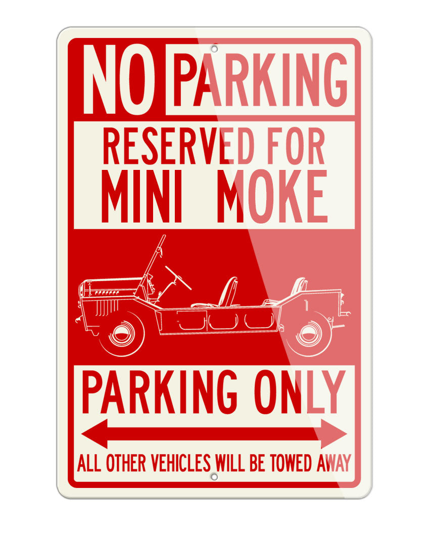 Austin Mini Moke Reserved Parking Only Sign