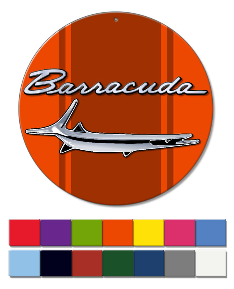 1964 - 1969 Plymouth Barracuda 'Cuda Fish Emblem Round Aluminum Sign