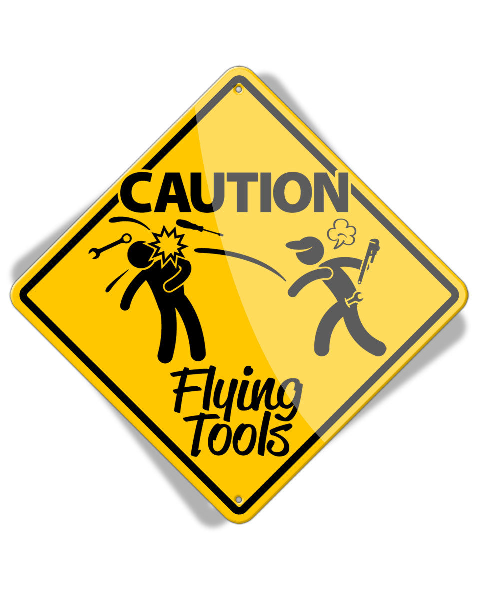 Caution Mechanic on Duty - Flying Tools - Aluminum Sign