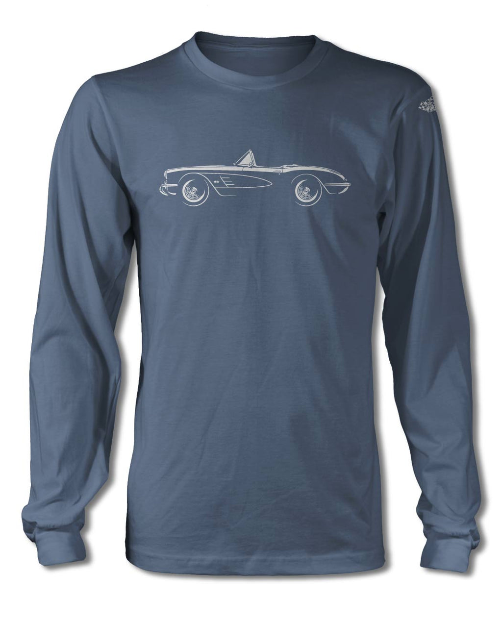 1958 Chevrolet Corvette Convertible C1 T-Shirt - Long Sleeves - Side View