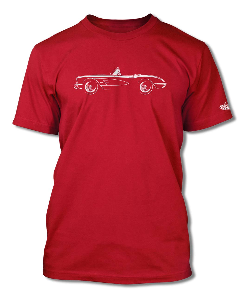 1958 Chevrolet Corvette Convertible C1 T-Shirt - Men - Side View