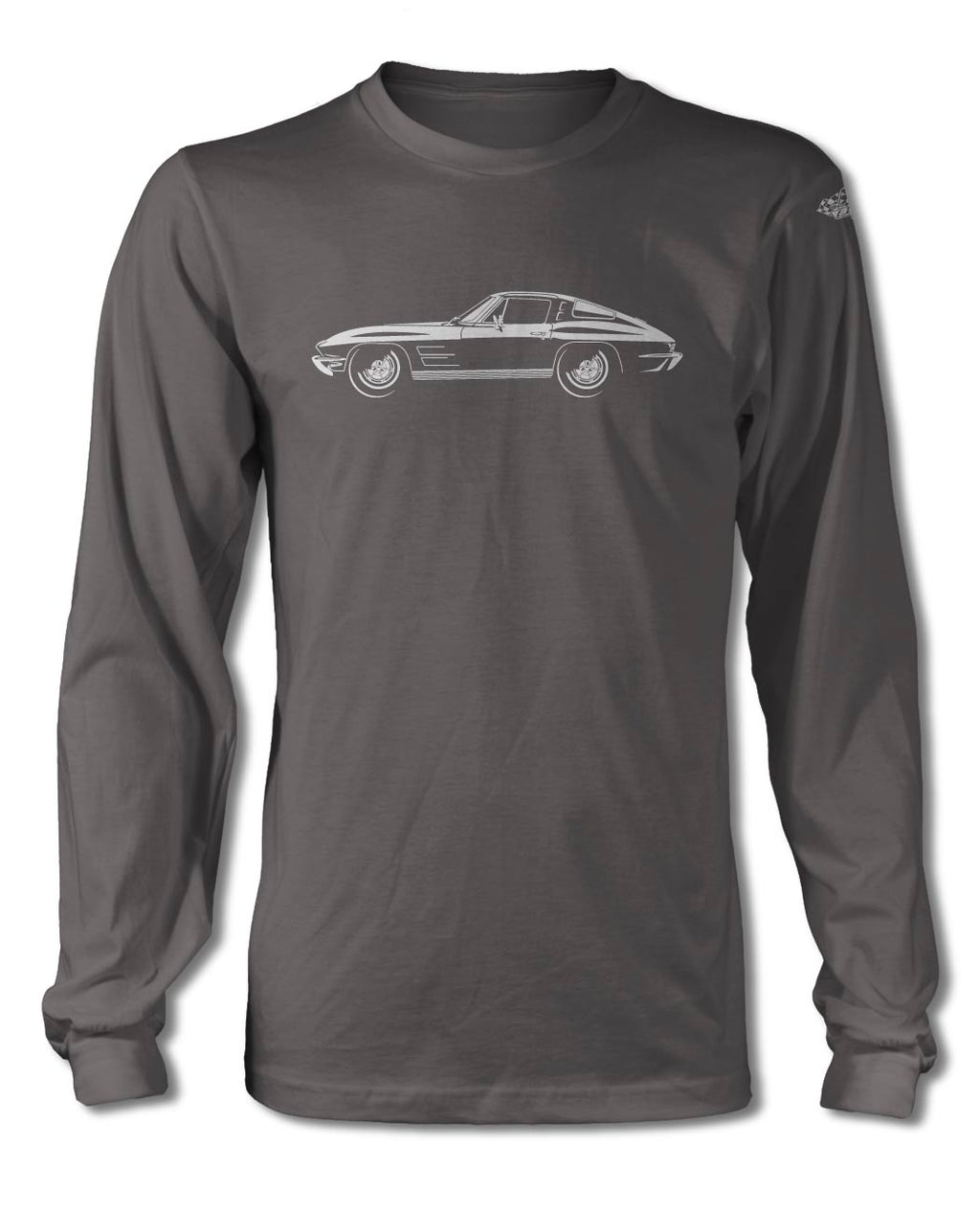 1963 Chevrolet Corvette Sting Ray Split Window C2 T-Shirt - Long Sleeves - Side View