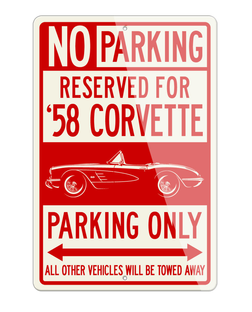 1958 Chevrolet Corvette Convertible C1 Reserved Parking Only Sign