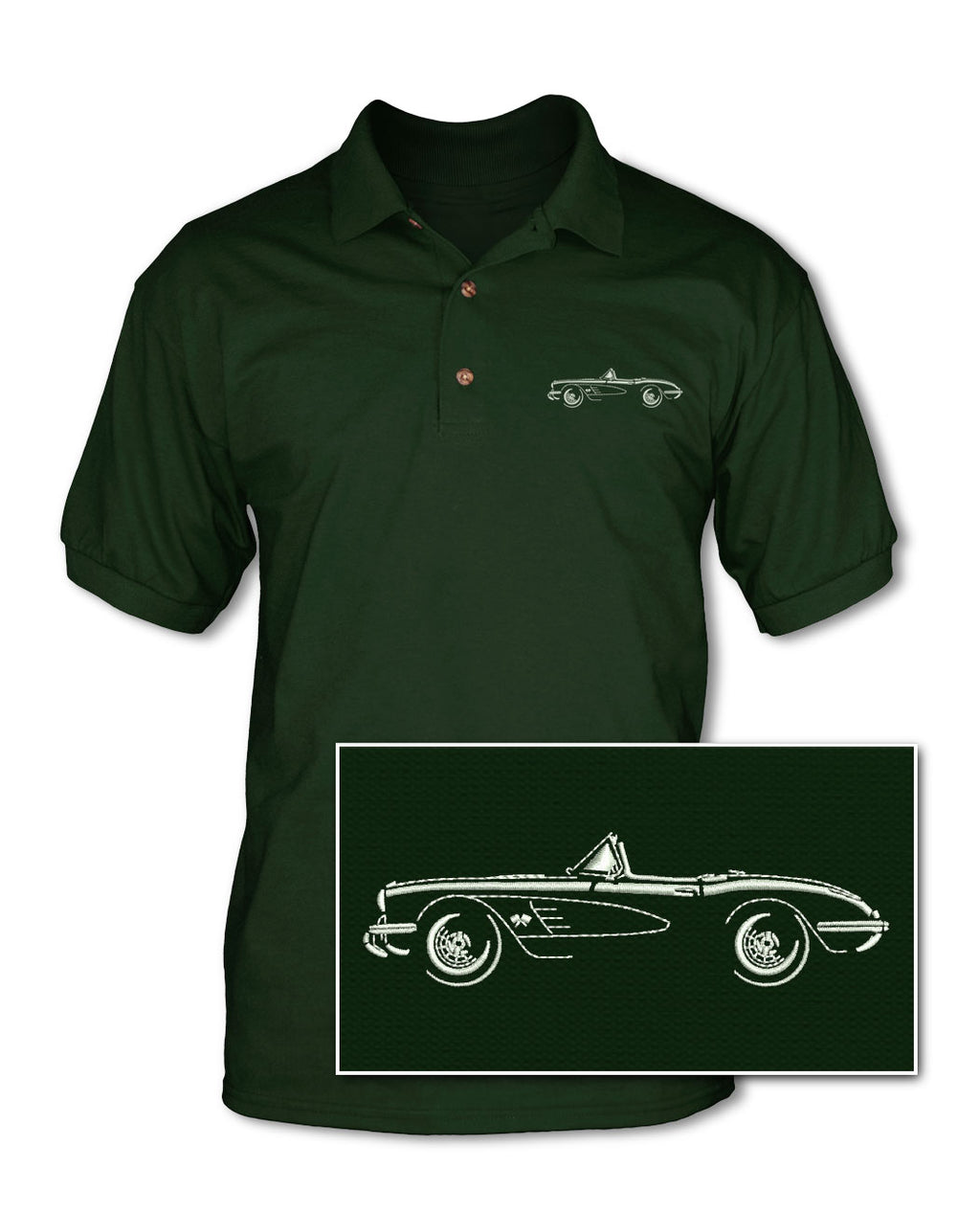 1958 Chevrolet Corvette Convertible C1 Adult Pique Polo Shirt - Side View
