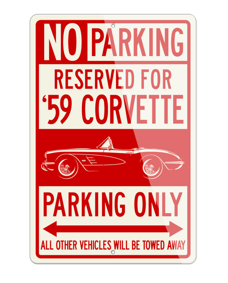 1959 Chevrolet Corvette Convertible C1 Reserved Parking Only Sign