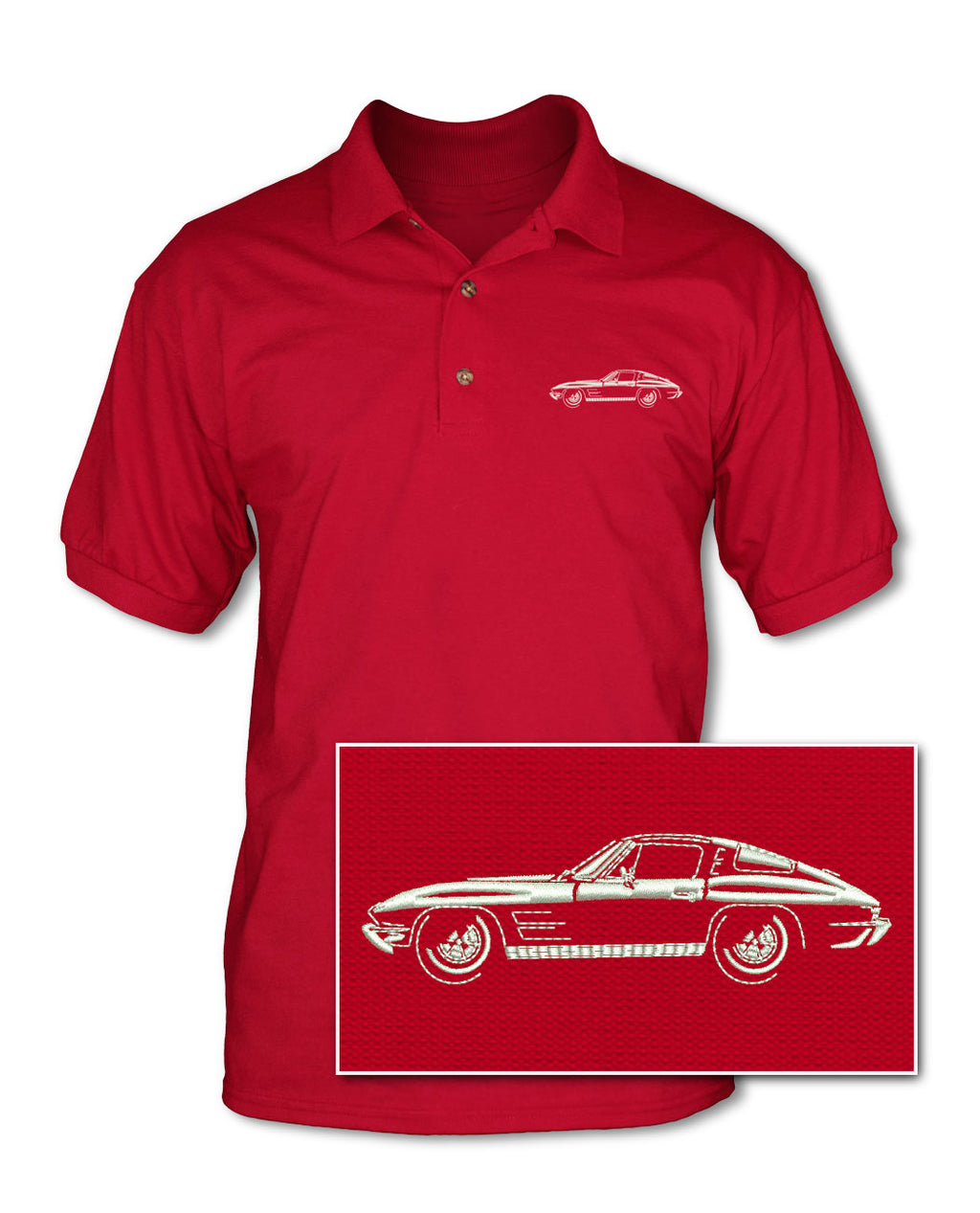 1963 Chevrolet Corvette Sting Ray Split Window C2 Adult Pique Polo Shirt - Side View