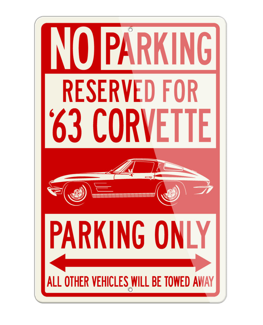 1963 Chevrolet Corvette Sting Ray Split Window C2 Reserved Parking Only Sign