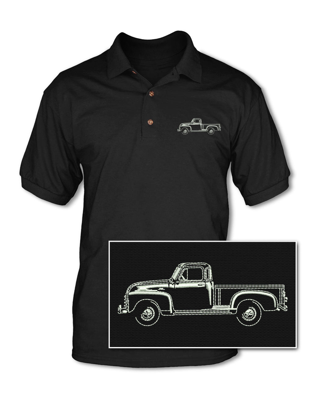1951 - 1954 Chevrolet Pickup 3100 Adult Pique Polo Shirt - Side View
