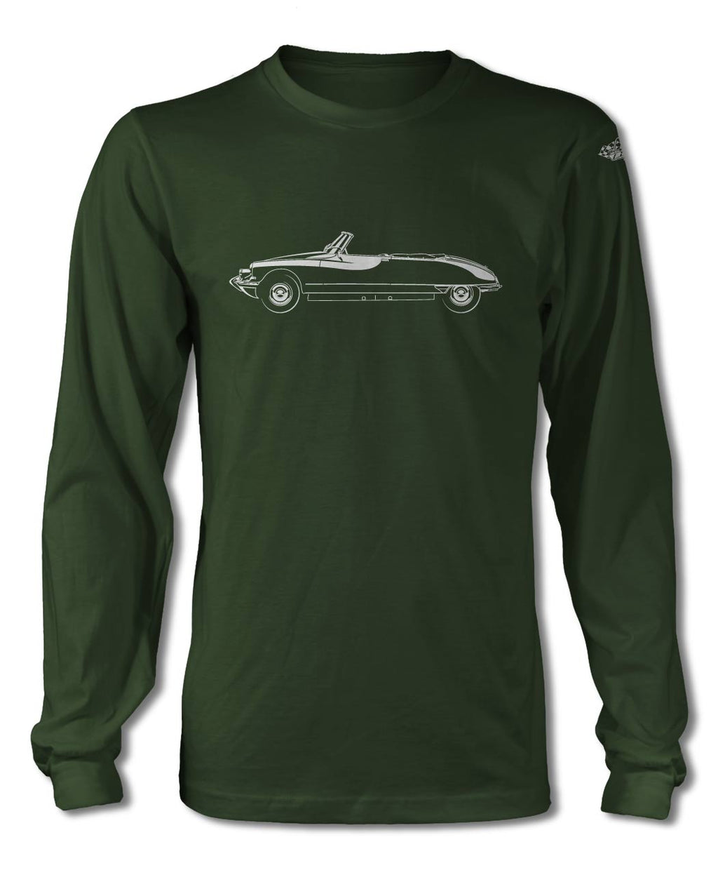 Citroen DS ID 1955 - 1967 Convertible Cabriolet T-Shirt - Long Sleeves - Side View