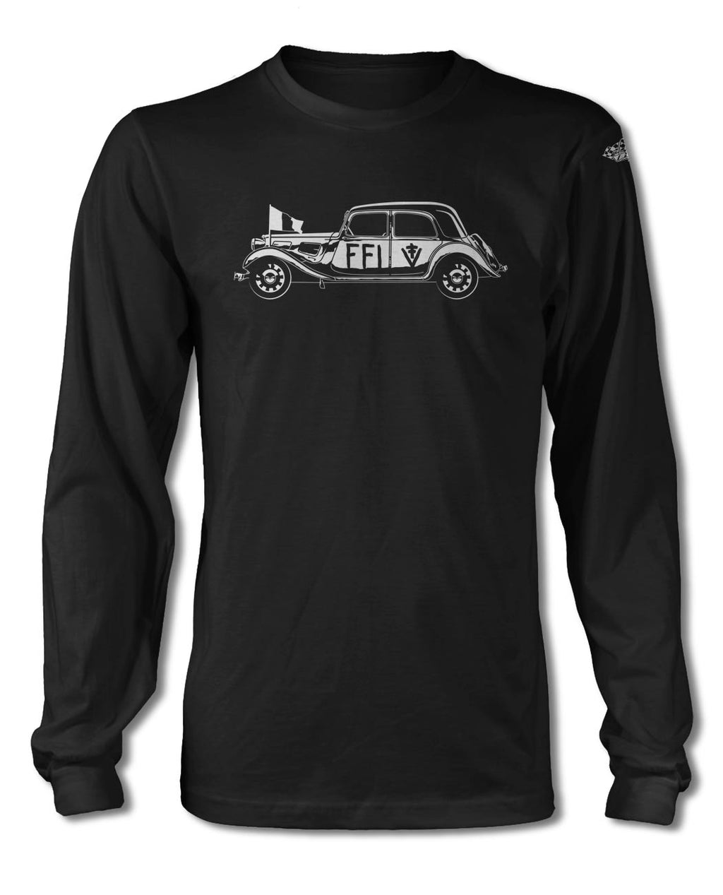 Citroen Traction Avant 11BL FFI 1944 - 1945 T-Shirt - Long Sleeves - Side View