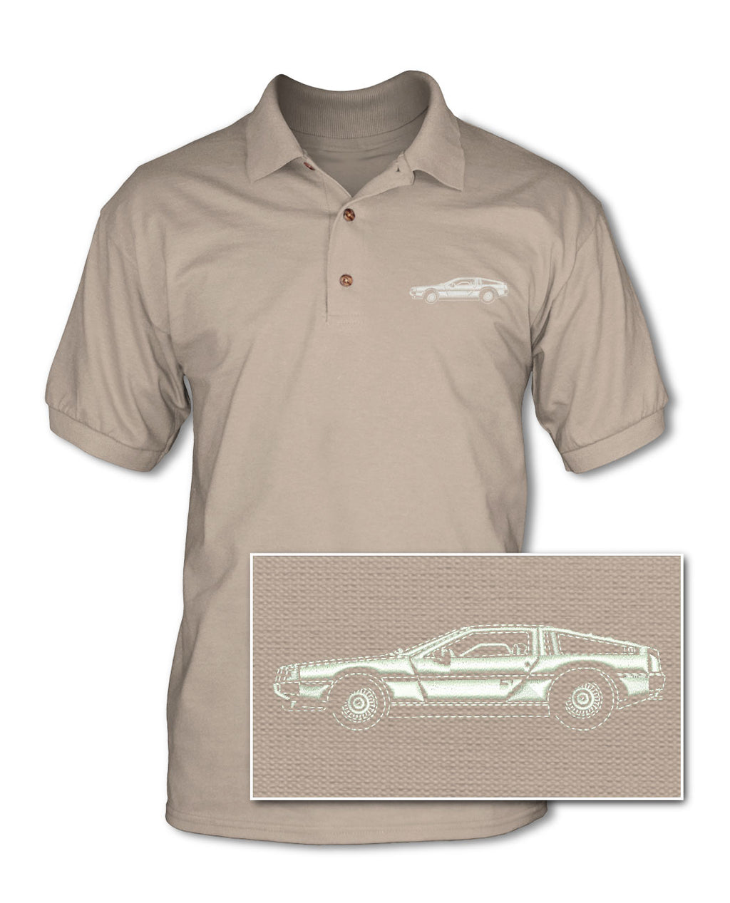 1981 DeLorean DMC-12 Coupe Adult Pique Polo Shirt - Side View