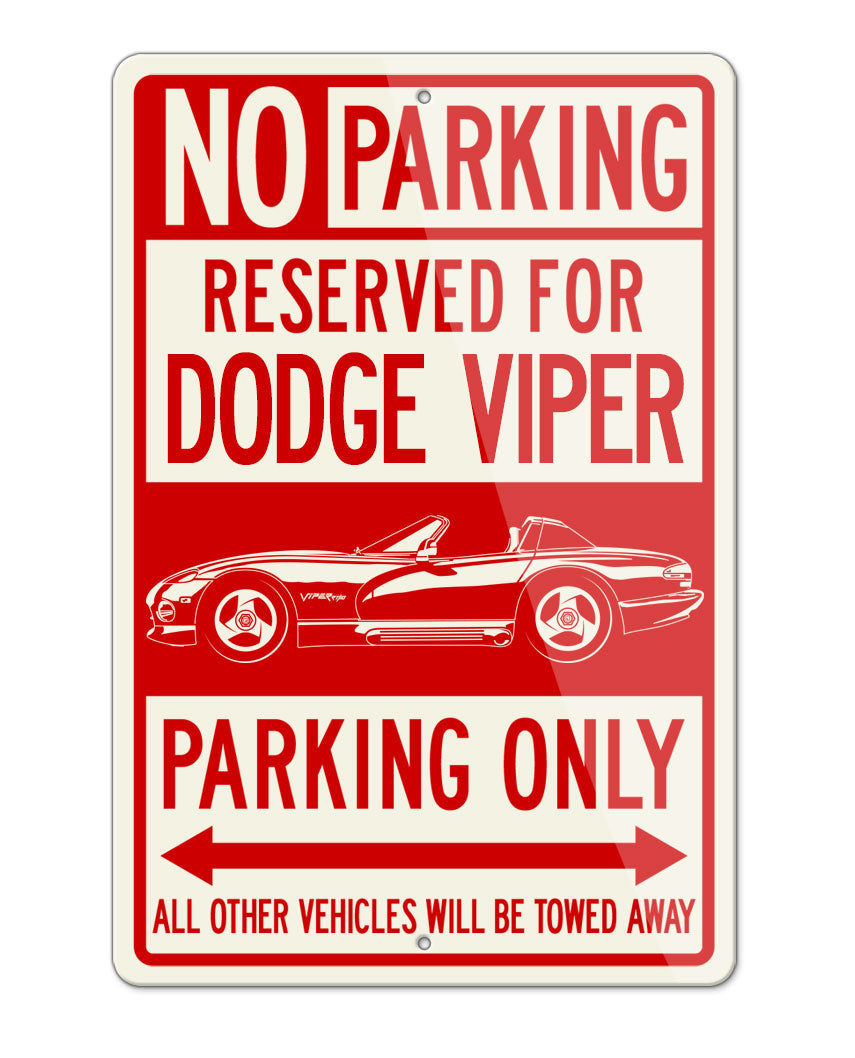 1991 - 1995 Dodge Viper SR1 Hardtop Parking Only Sign