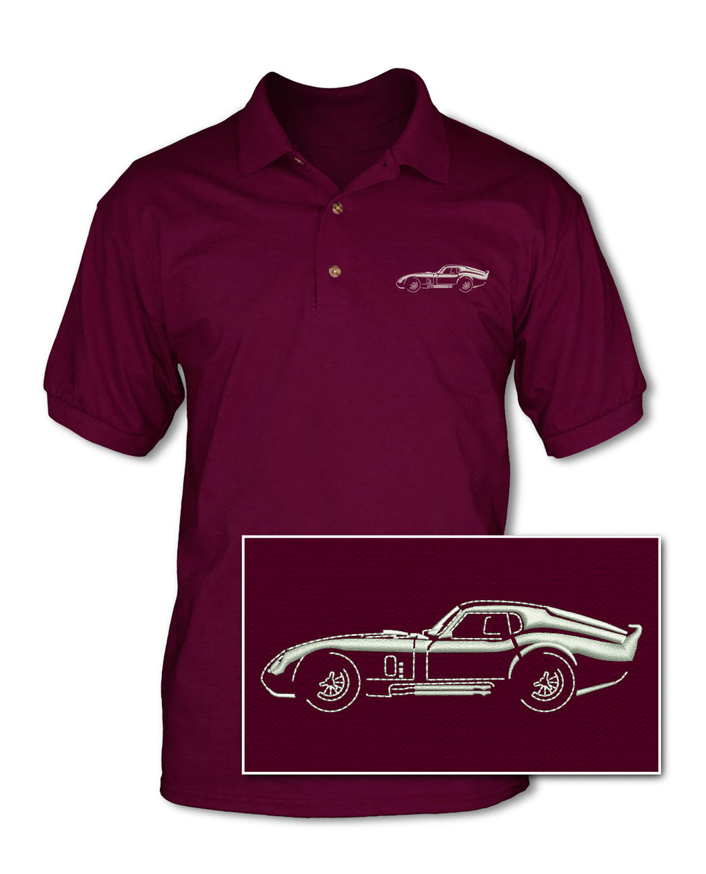 1964 Daytona Coupe Side View - Adult Pique Polo Shirt