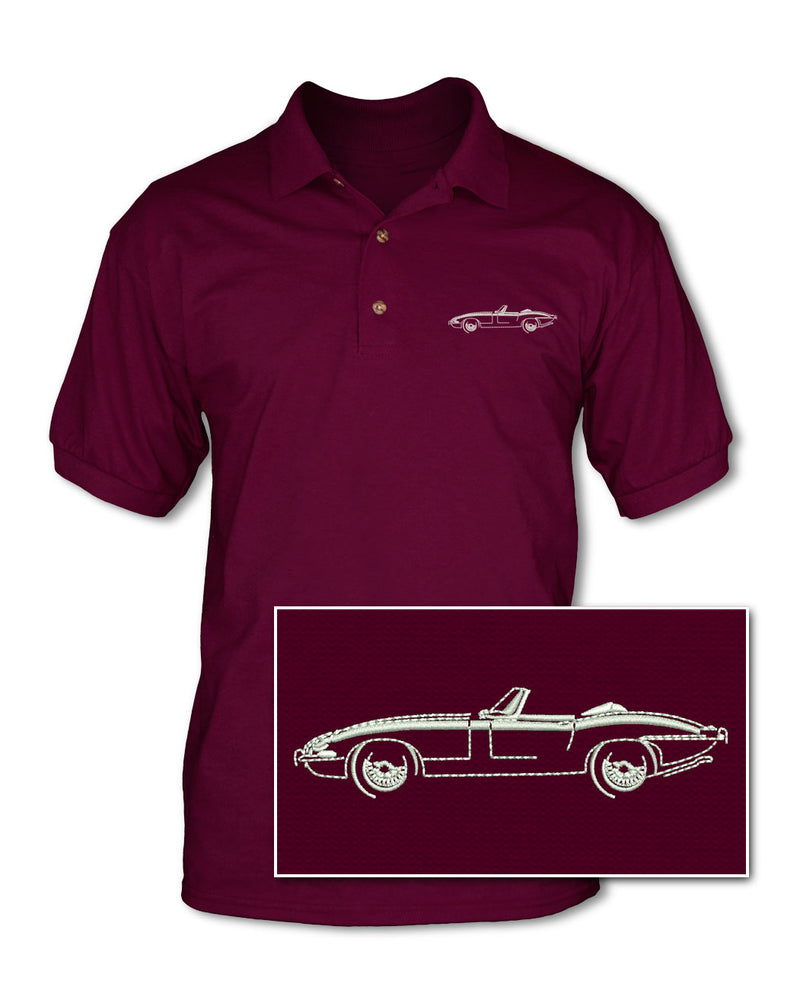 Jaguar E-Type XKE Convertible Adult Pique Polo Shirt - Side View