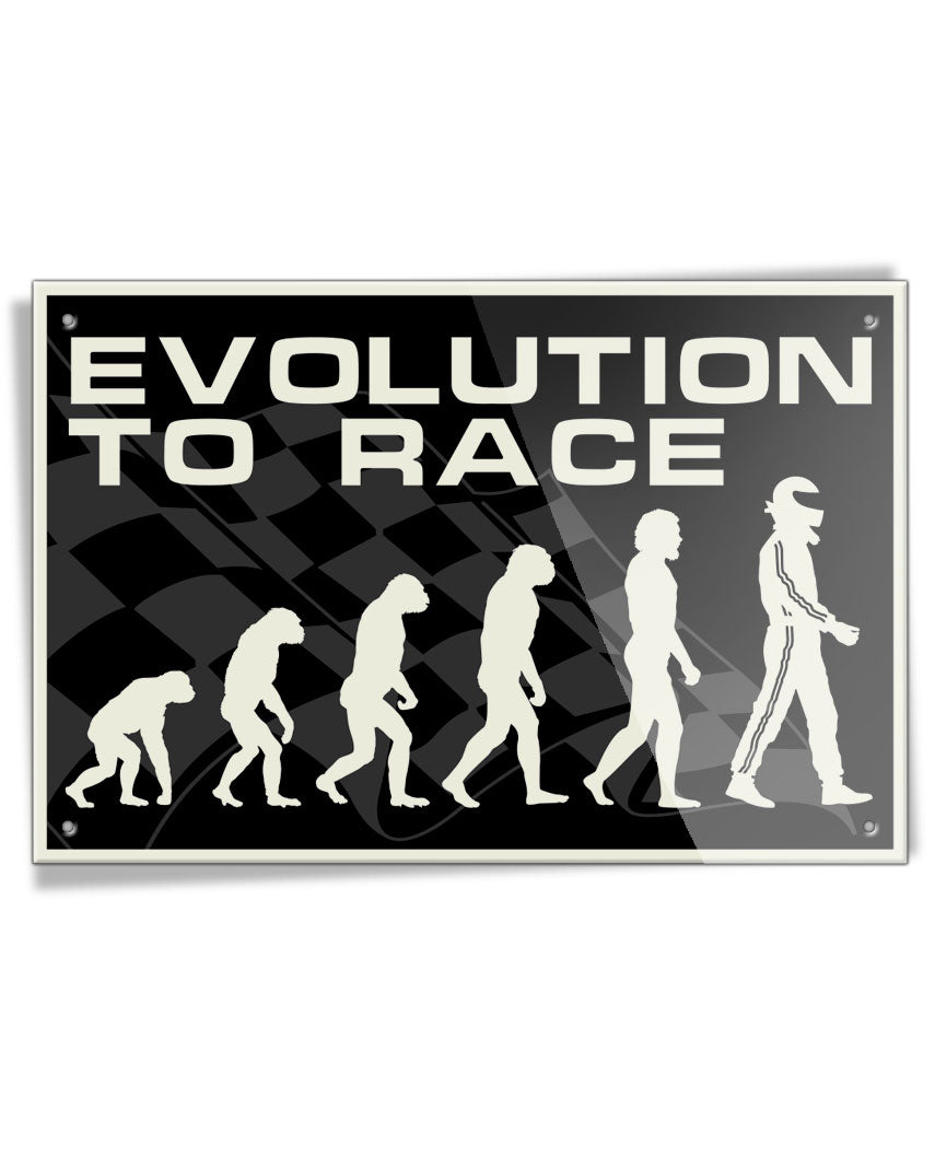 Evolution to Race - Aluminum Sign