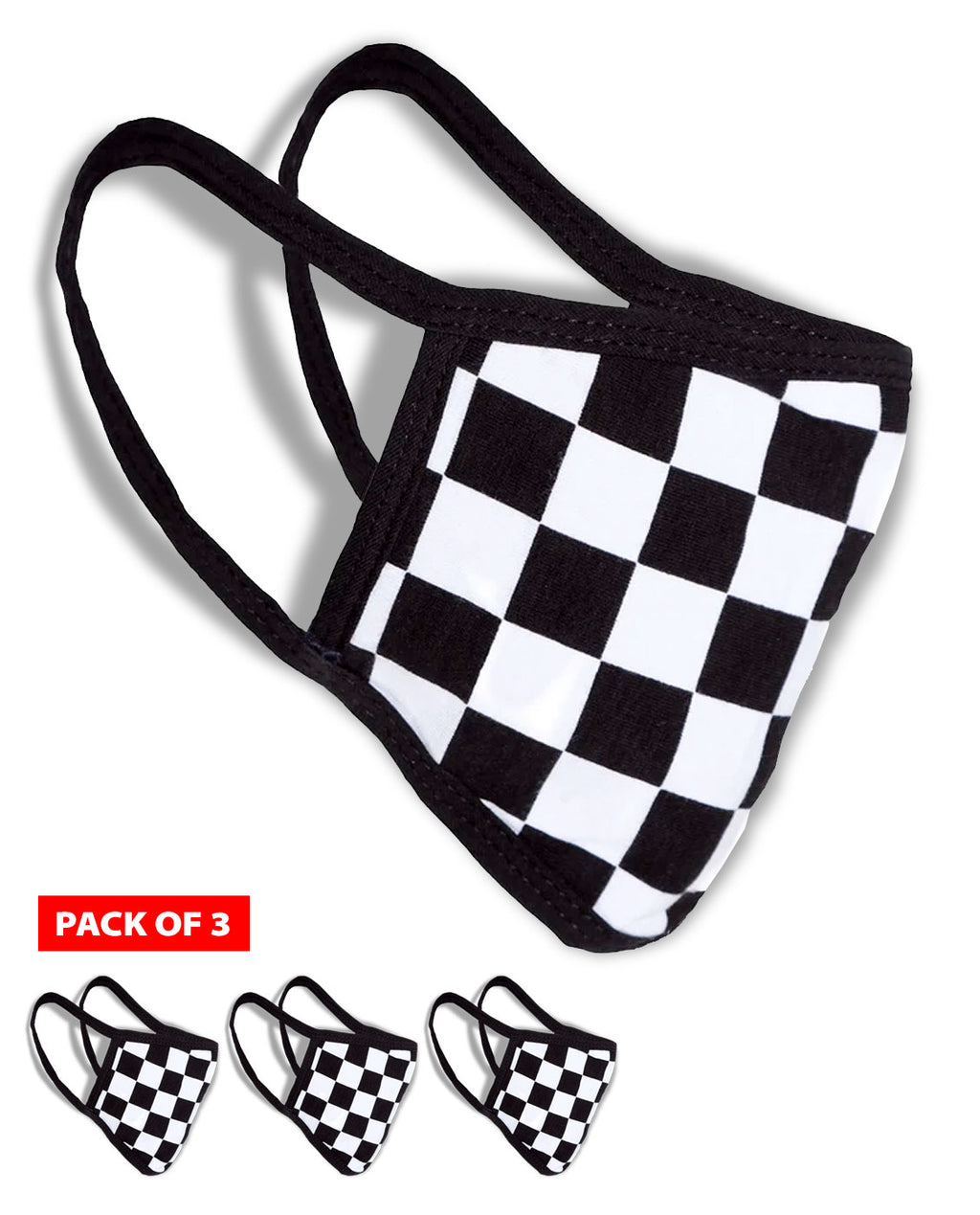 Face Masks - Checkered Racing Flag - Men - Coronavirus / Covid-19 - 3 masks