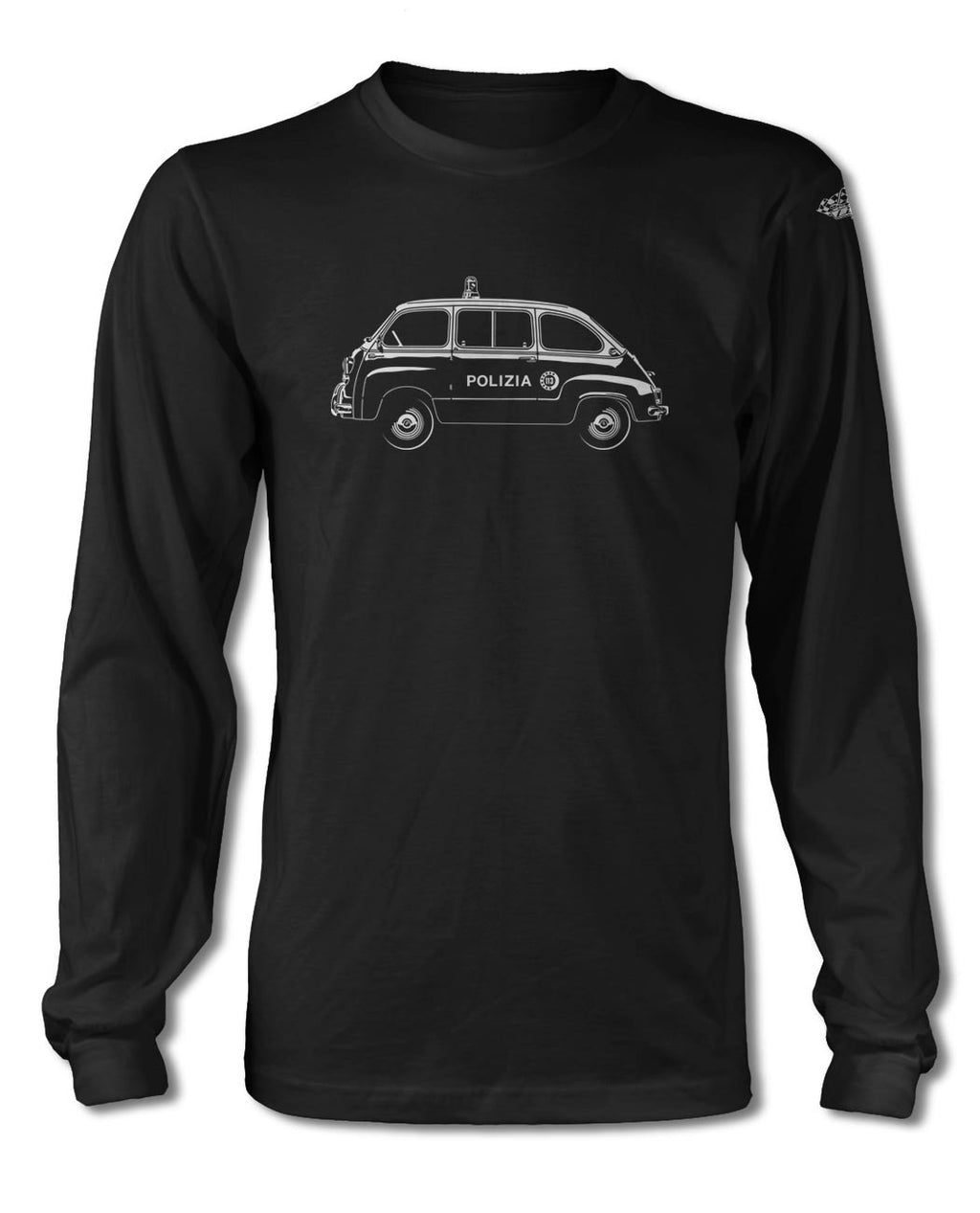 FIAT 600 Multipla Italian Polizia (police) 1956 - 1969 T-Shirt - Long Sleeves - Side View