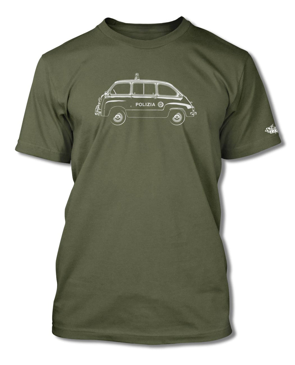 FIAT 600 Multipla Italian Polizia (police) 1956 - 1969 T-Shirt - Men - Side View