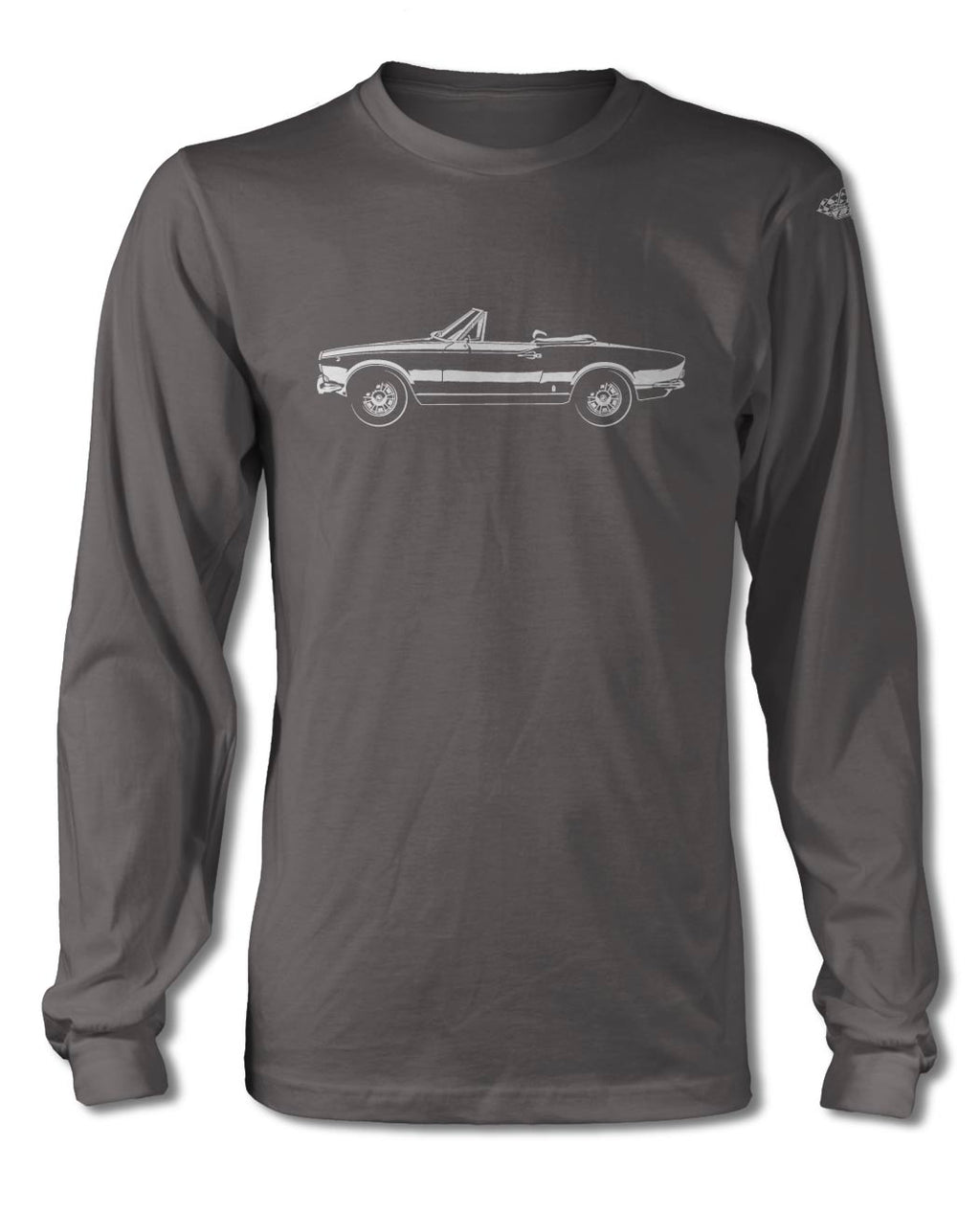 Fiat 124 Sport Spider Convertible 1966 - 1973 T-Shirt - Long Sleeves - Side View