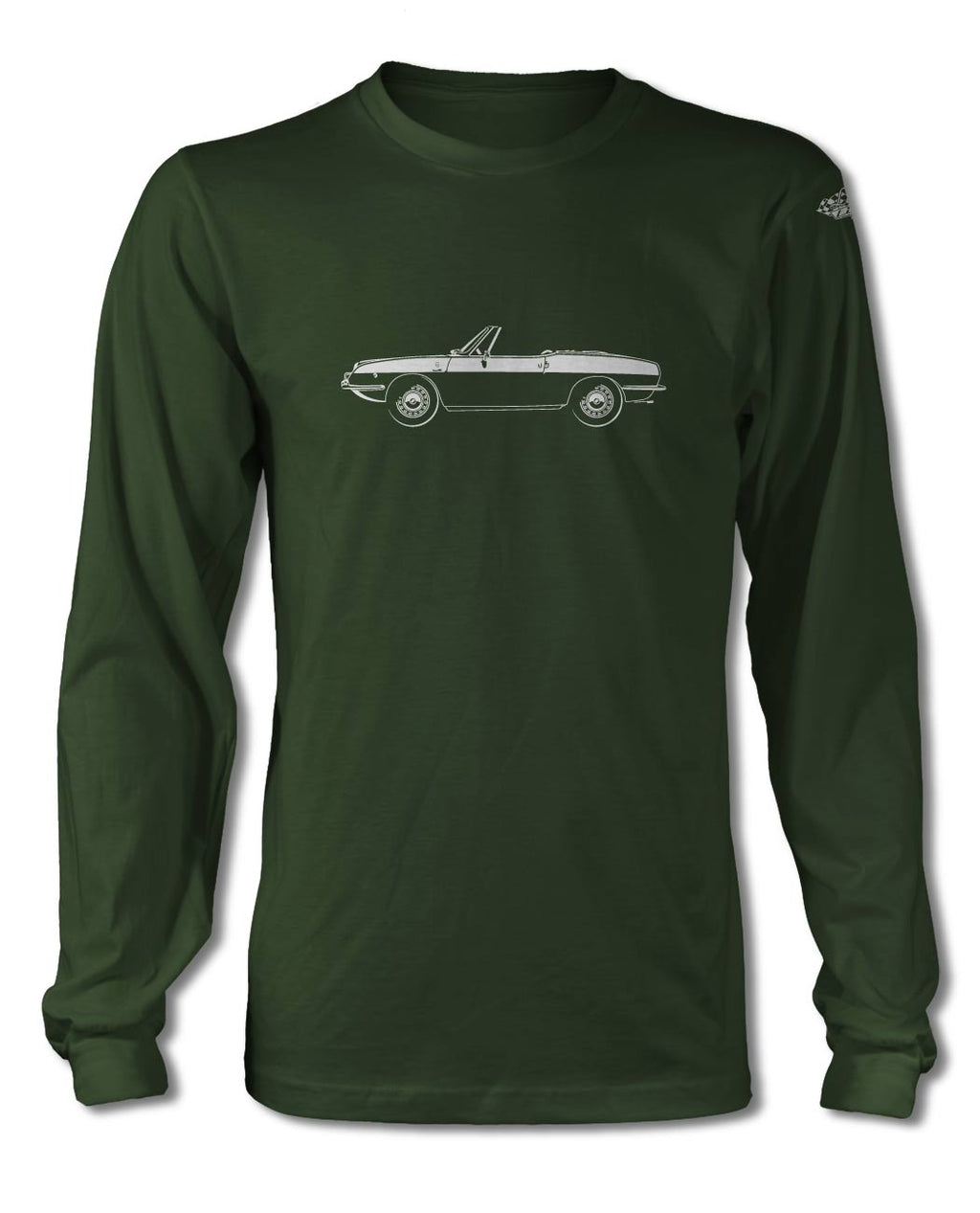 Fiat 850 Convertible Spider T-Shirt - Long Sleeves - Side View