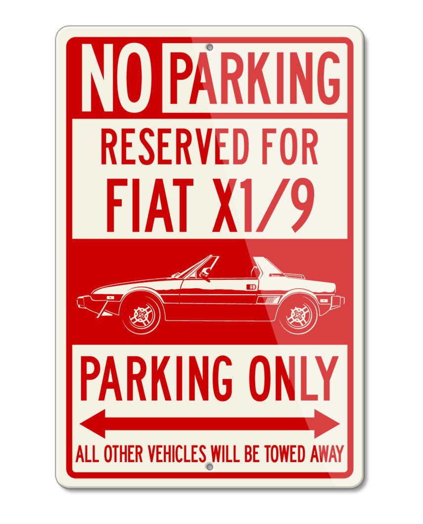 Fiat Bertone X1/9 Reserved Parking Only Sign