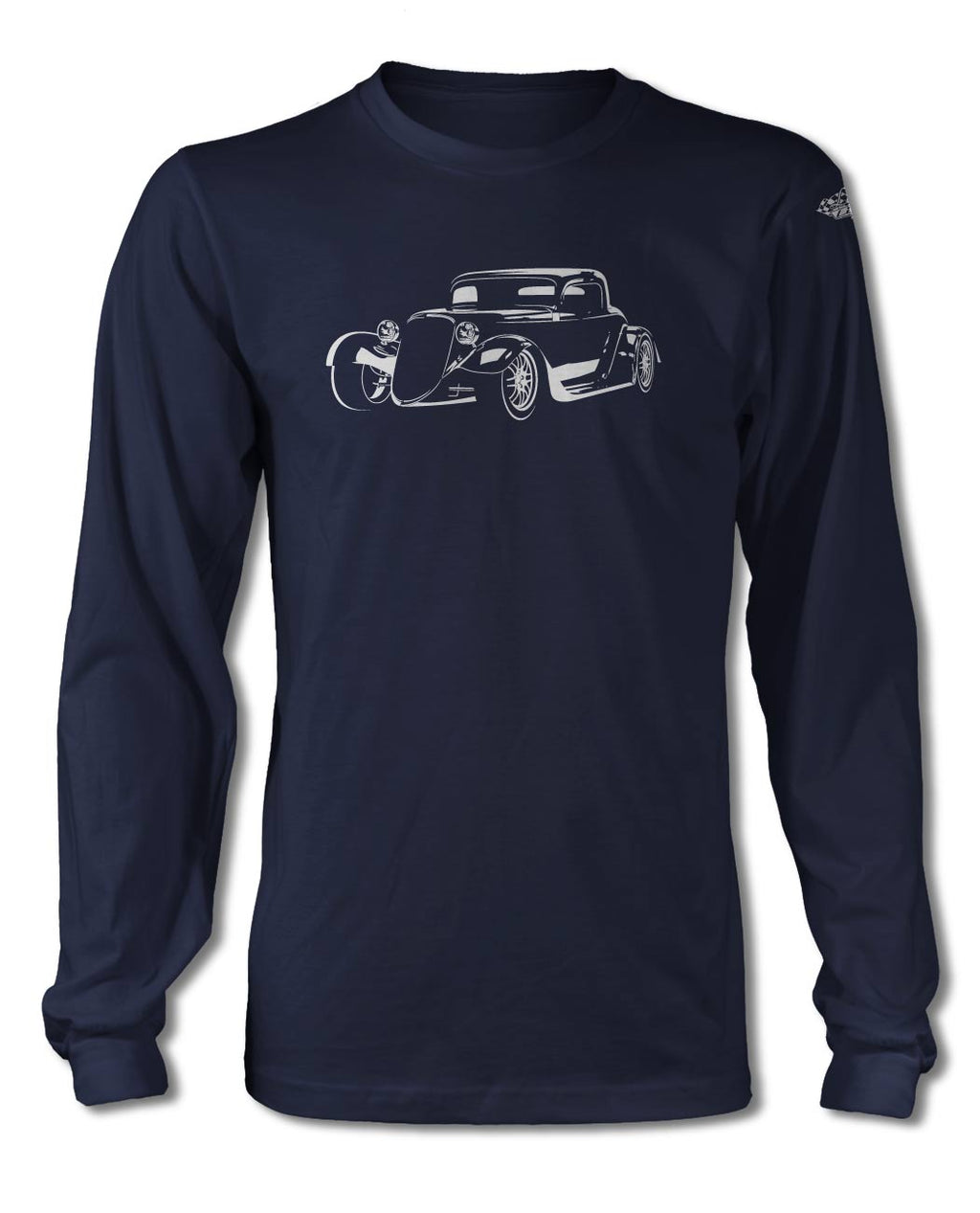 1934 Ford Coupe Old School Rod 3/4 T-Shirt - Long Sleeves - Spotlights
