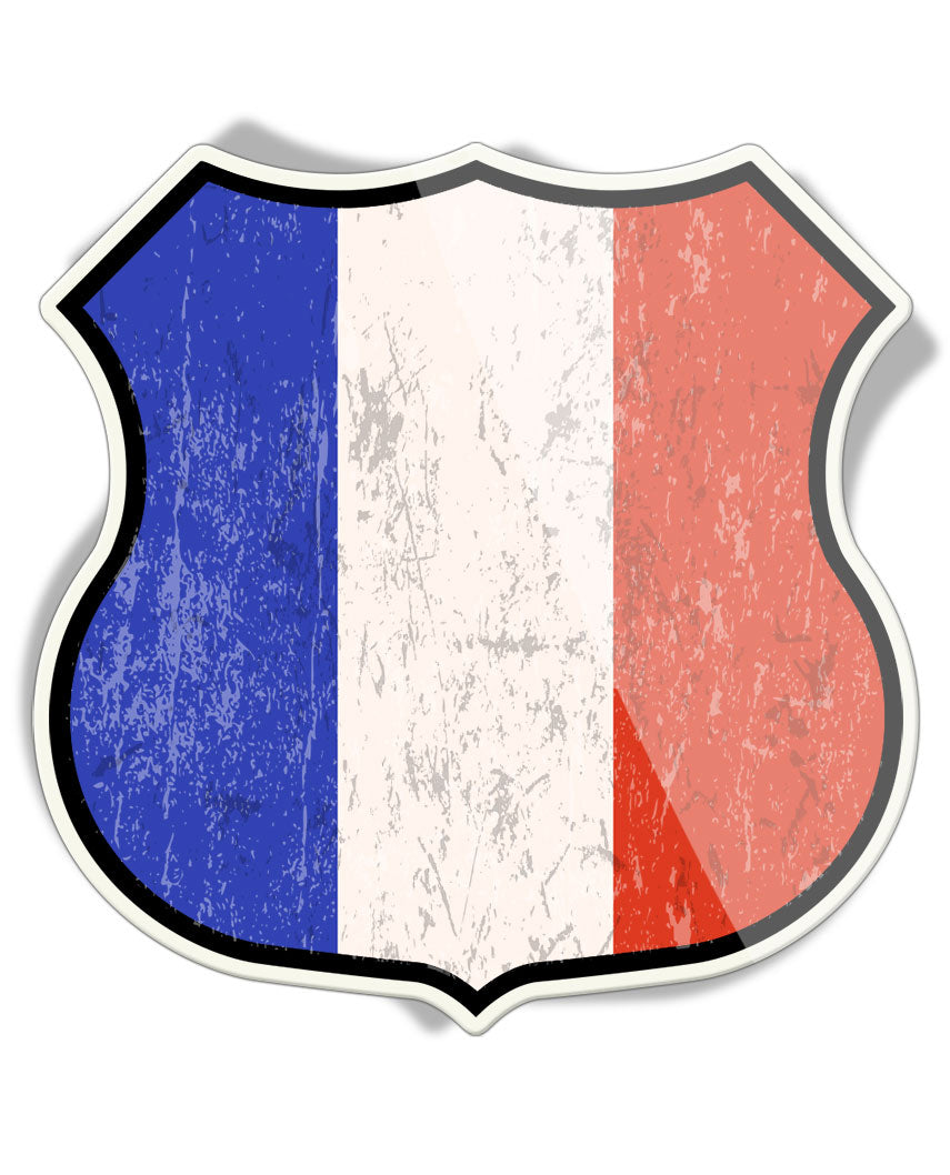 French Flag Shield - Aluminum Sign
