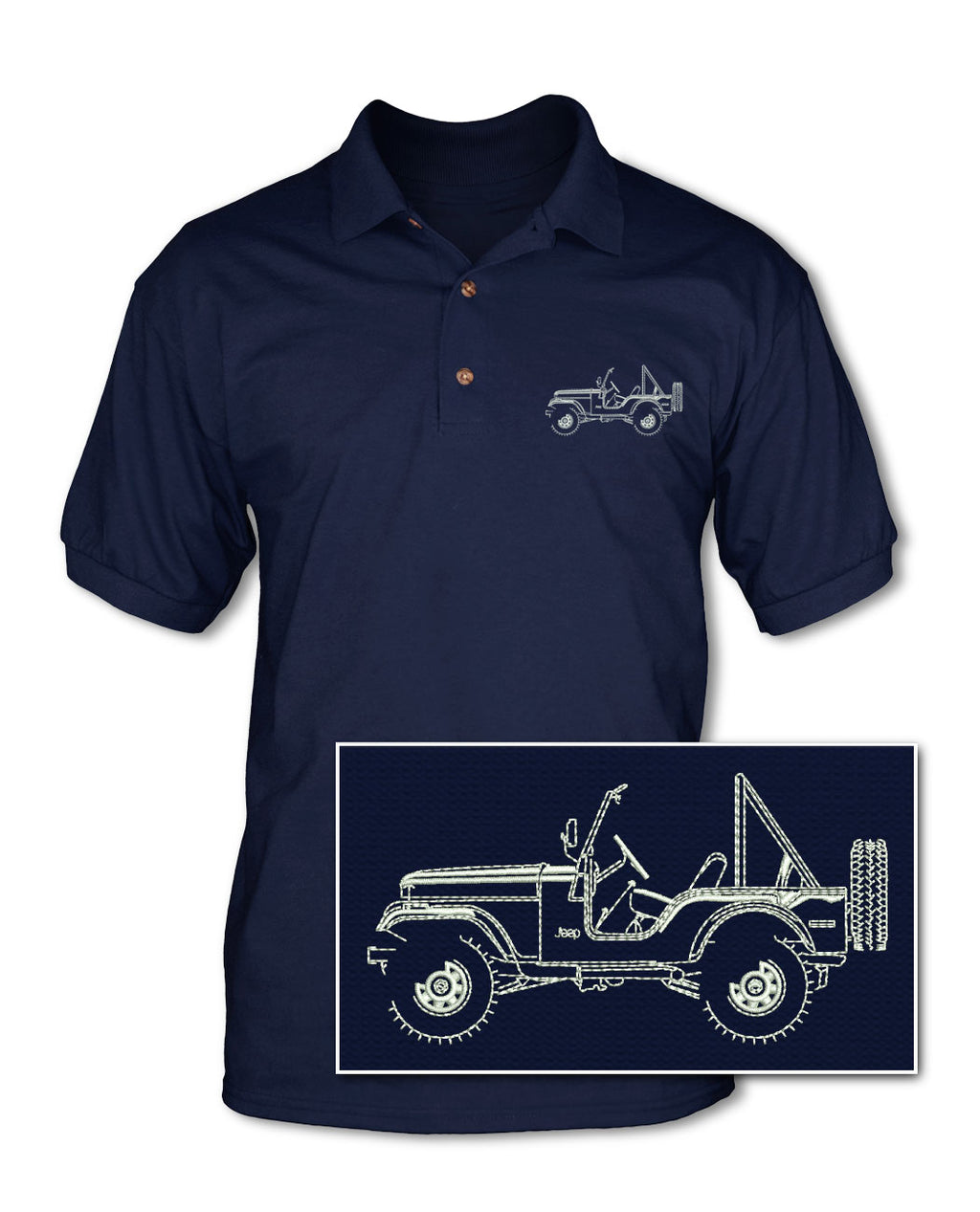 1972 - 1983 Jeep CJ5 CJ-5 Adult Pique Polo Shirt - Side View