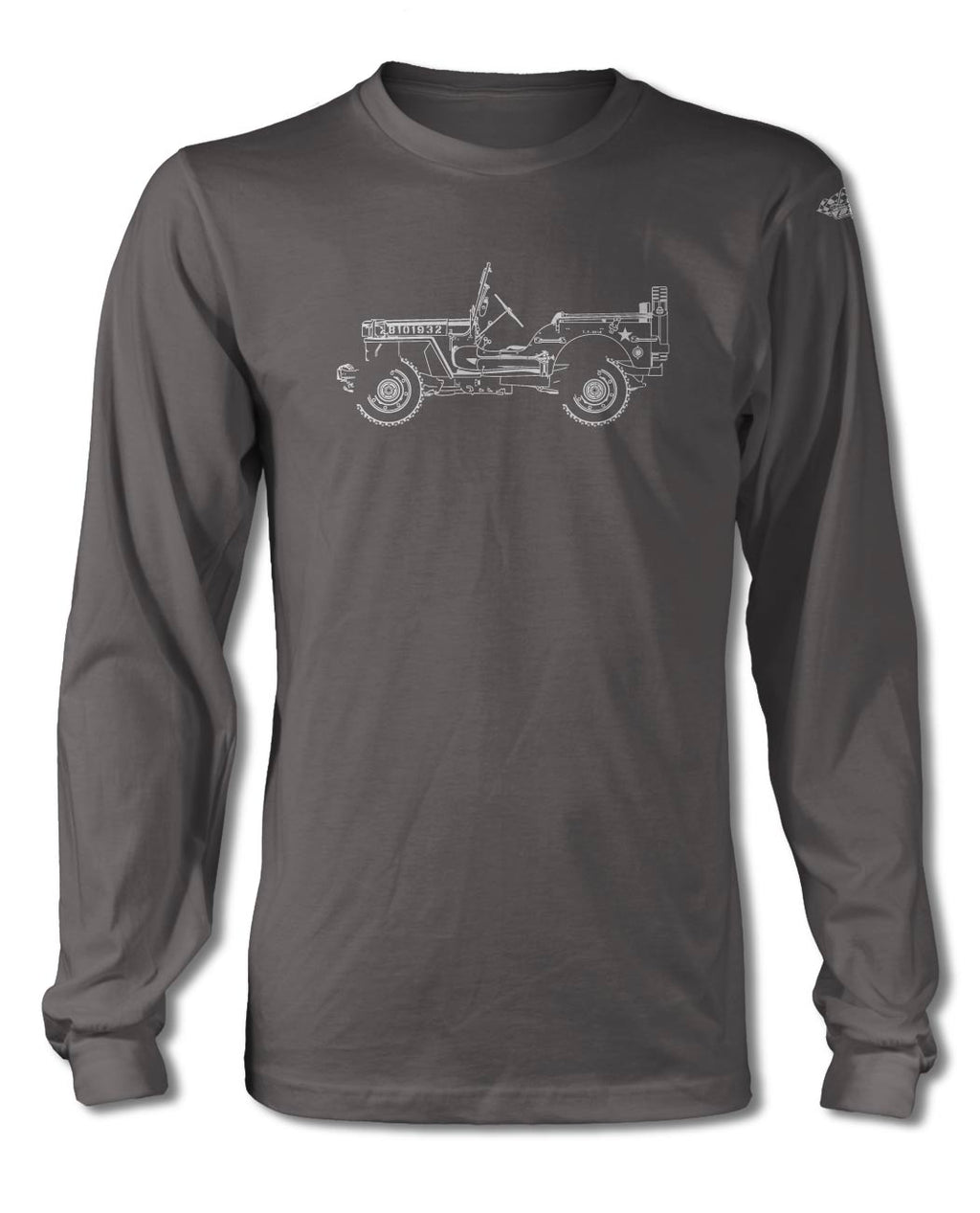 Jeep Willys WWII 1941 - 1945 T-Shirt - Long Sleeves - Side View