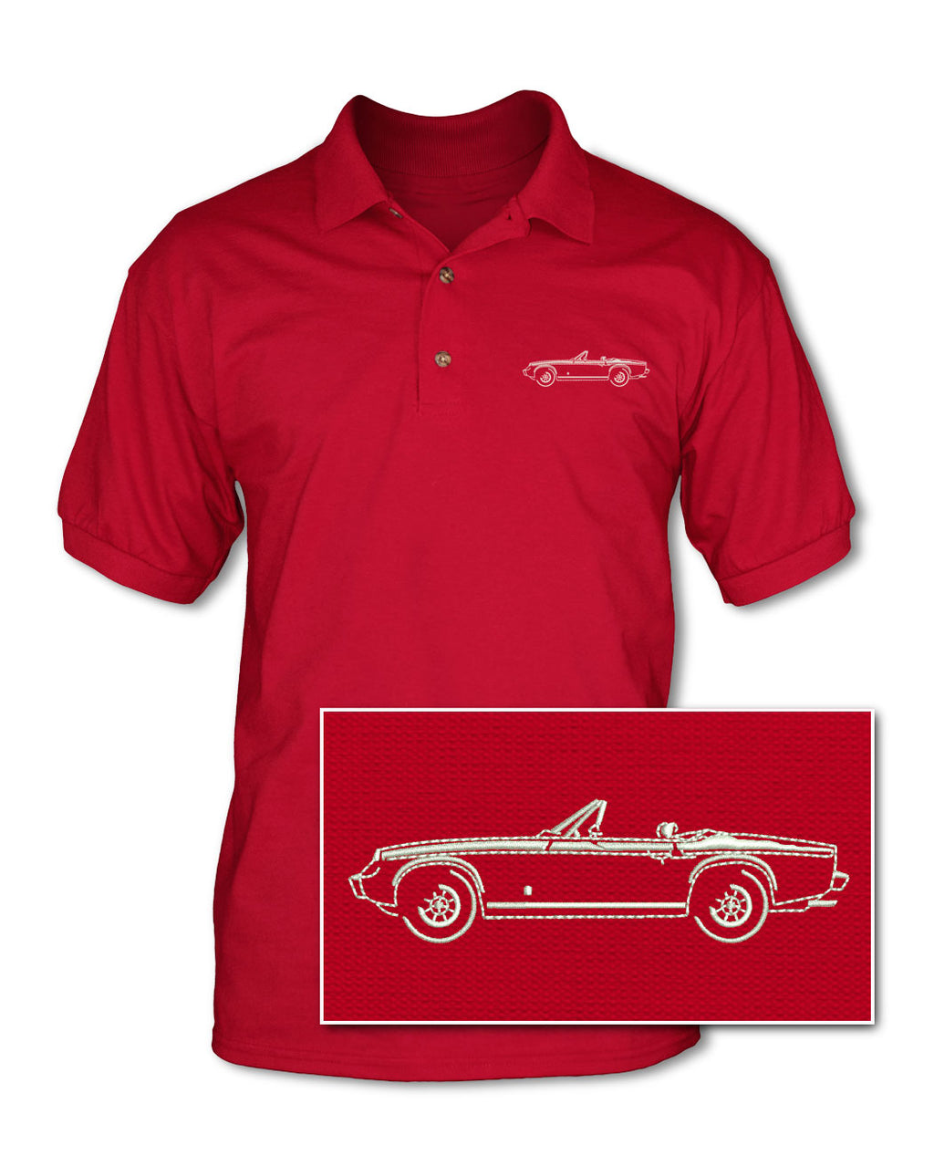 Jensen-Healey Convertible Adult Pique Polo Shirt - Side View