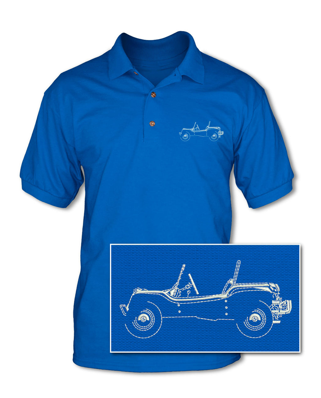 1964 Meyers Manx Buggy VW Adult Pique Polo Shirt - Side View