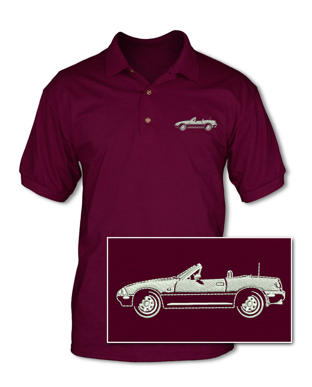 Mazda Miata MX-5 Convertible Adult Pique Polo Shirt - Side View