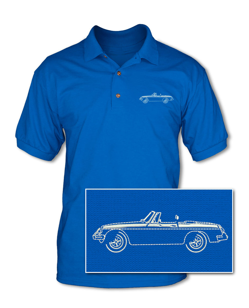 MG MGB MKIII Convertible Adult Pique Polo Shirt - Side View
