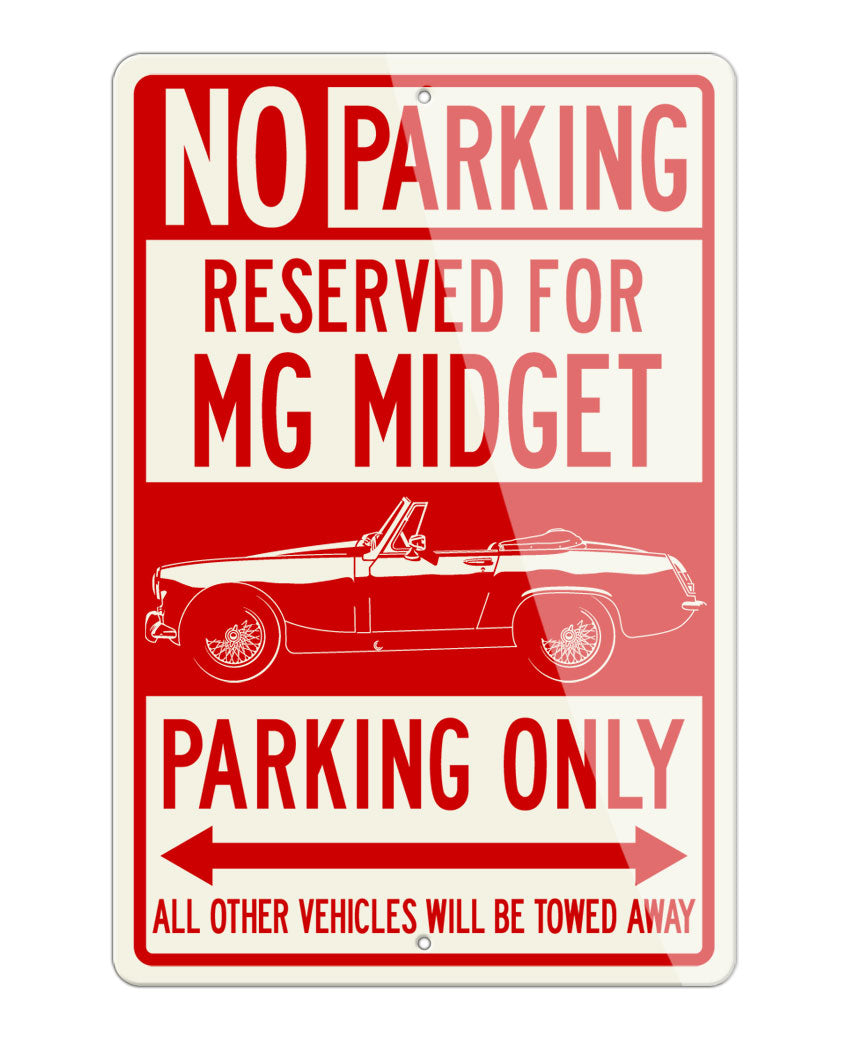 MG Midget Convertible Reserved Parking Only Sign