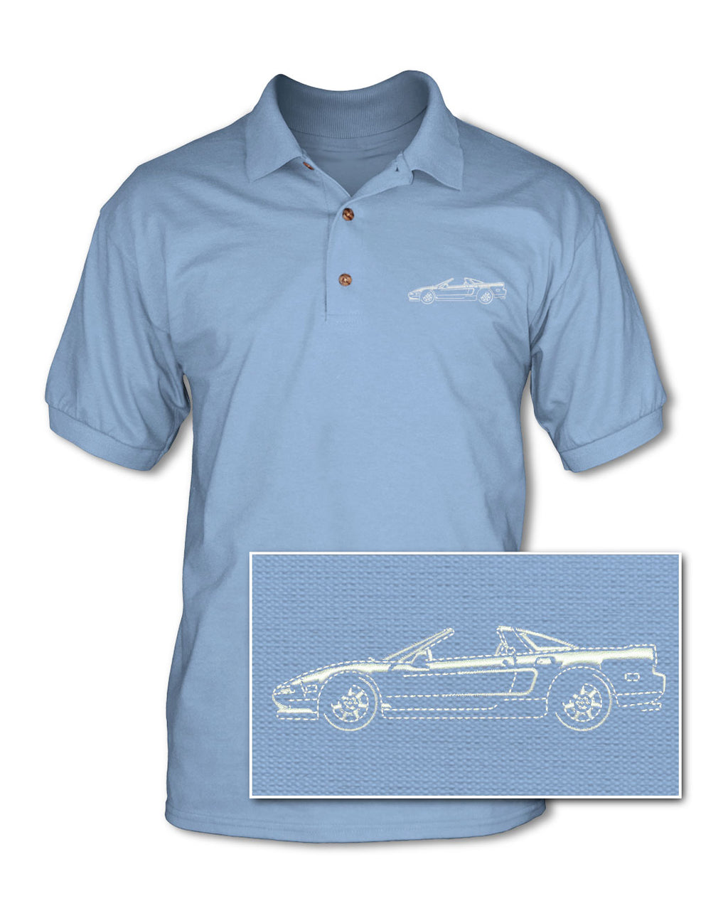 Honda Acura NSX Top Off 1990 - 2005 Adult Pique Polo Shirt - Side View