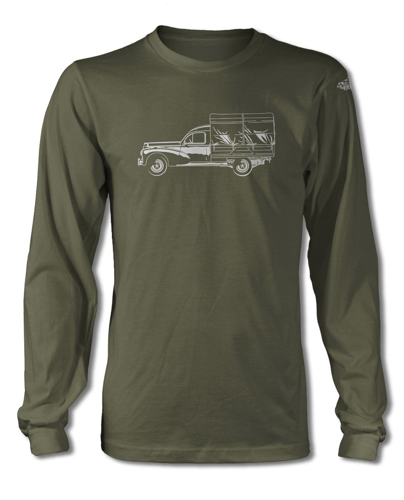 Peugeot 203 1948 - 1960 Pickup T-Shirt - Long Sleeves - Side View