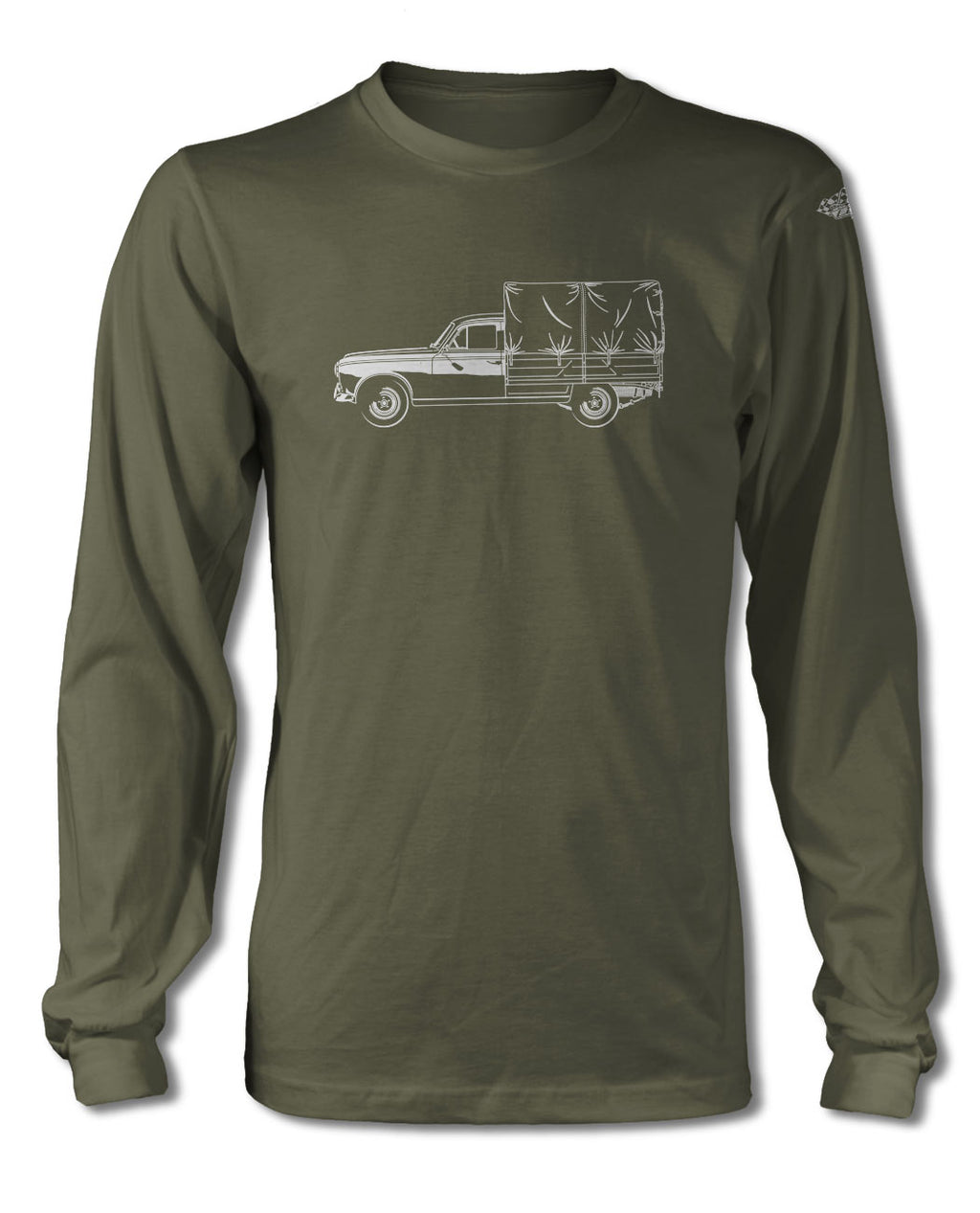 Peugeot 403 1955 - 1966 Pickup T-Shirt - Long Sleeves - Side View