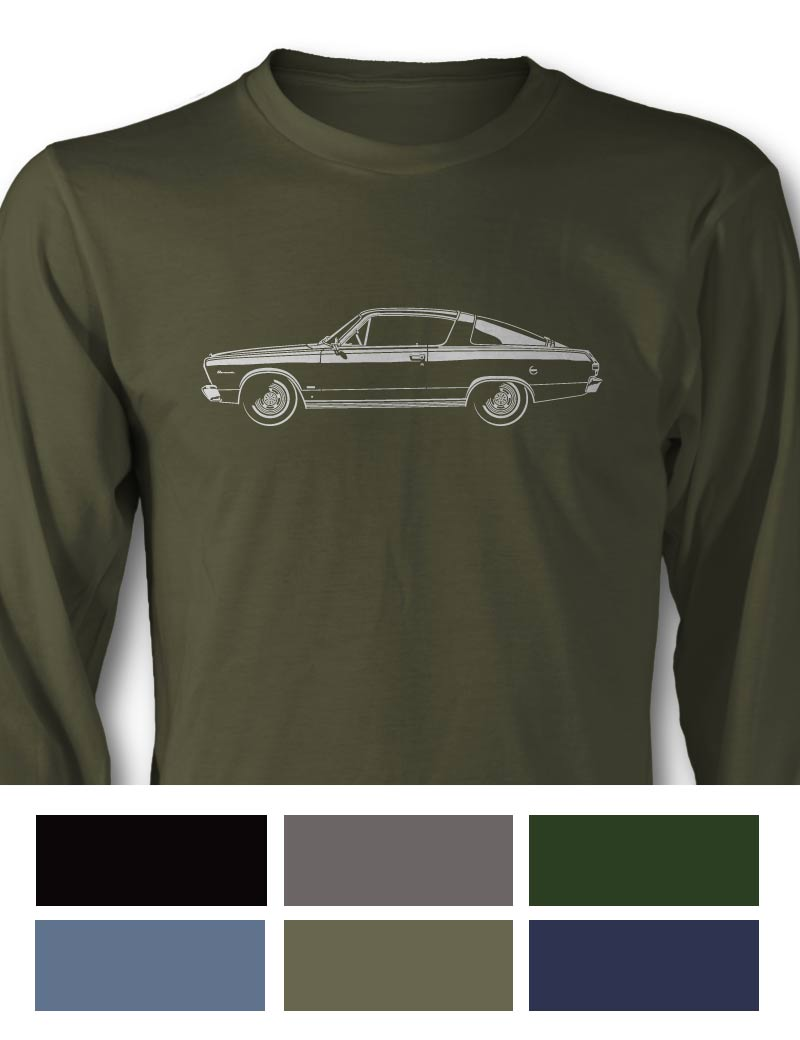 Plymouth Barracuda 1966 Fastback Long Sleeve T-Shirt - Side View