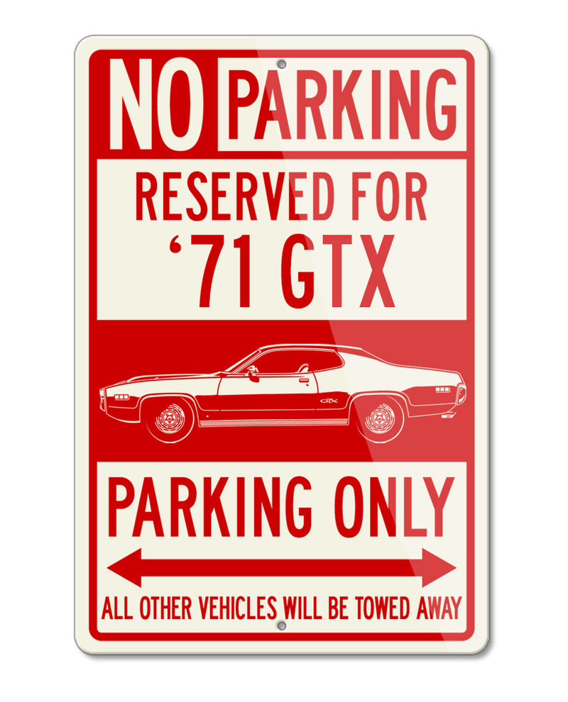 1971 Plymouth GTX Coupe Reserved Parking Only Sign