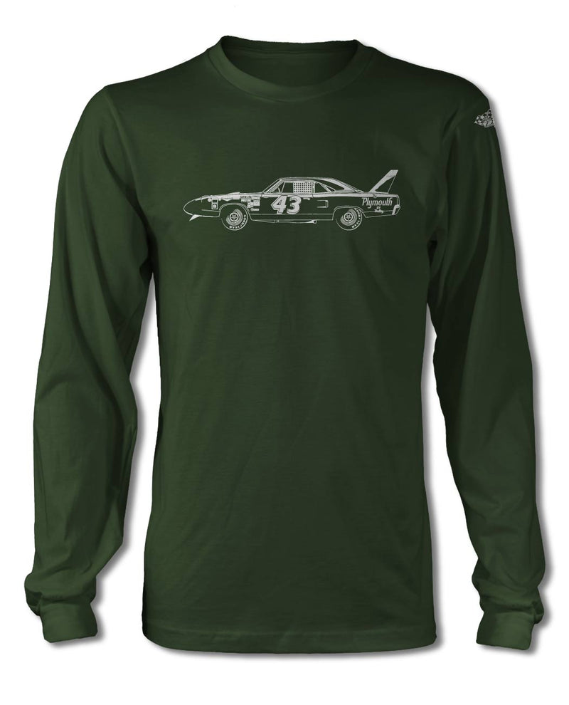 1970 Plymouth Superbird R. PETTY - NASCAR T-Shirt - Long Sleeves - Side View
