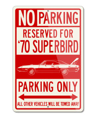 1970 Plymouth Road Runner Superbird Coupe Reserved Parking Only Sign